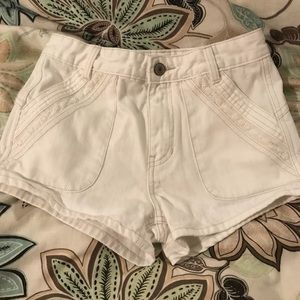 Free People-High Waisted Lace Accented Jean Shorts